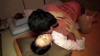 Japanese mom and son when daddy sleep