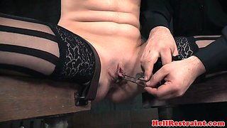 Gagged sub gets groped and dominated
