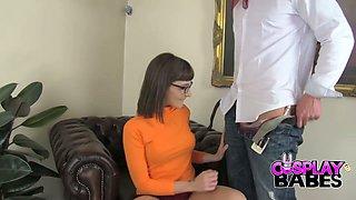 Nasty Adreena Winters in Velma Dinkley costume is banged hard