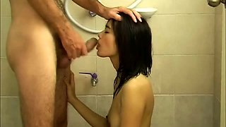 Cute Asian babe takes it doggystyle and swallows a hot load