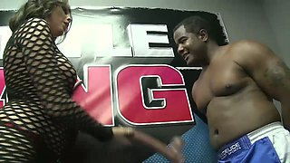 Black dude fucks naughty ring girl Nella Jay and makes her jugs bounce like crazy