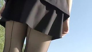 Sexy upskirt of a business woman