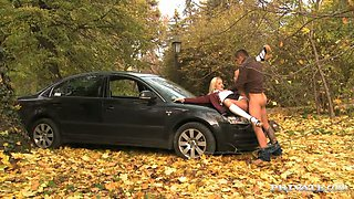 Nasty chick Cherry Kiss gets fucked on the hood of her lover's car