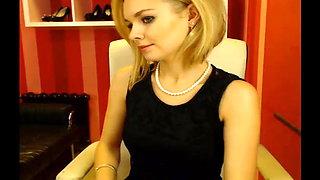 Webcam secretary in good mood