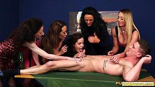 Kinky Naughty femdom chicks sucking on dick