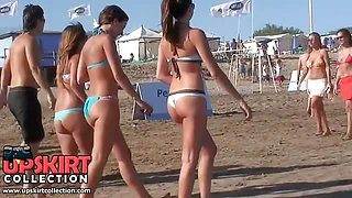 Three cute amateurs in sexy bikinis walking and their nice