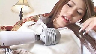 Busty Japanese schoolgirl gets her shaved pussy banged at