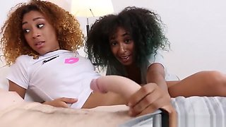 Two Black Teens Amazing Threesome Action In The Bedroom