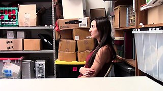 Brunette thief Jade Amber caught and punished