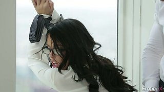 Sexy secretary in glasses Megan Rain  fucks her horny boss