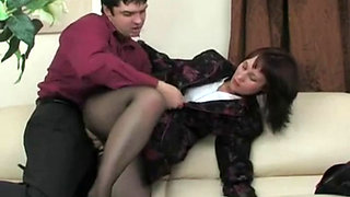 Russian Mom Banged and Jizzed by Son's Friend