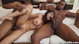Busty brunette gets hammered silly by big black cocks in an interracial mmf threesome