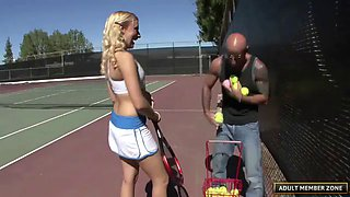 Cutie from the tennis court goes home with him for dick
