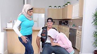 Julianna Vega and Mia Khalifa in kitchen threesome