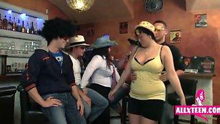 three bbw drunk af fun in the bar more here - allxteen. com