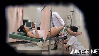 Fascinating nurse nudity with her asian snatch exposed