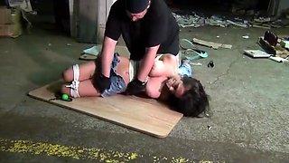 Drunk girl hogtied dirty feet ball gagged tape gagged sexy barefoot damsel