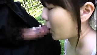 Cute Asian schoolgirl with a sweet ass gets fucked outside