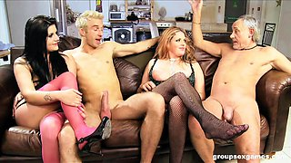 Mature Rebecca Ryder and Harvey Jay sprayed with cum in a foursome