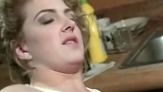 Naughty pale skin blonde babe wants to suck cock in  the kitchen