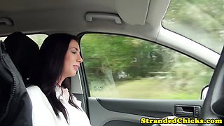 Hitchhiking amateur riding cock in the car