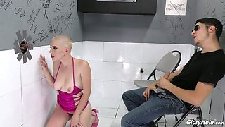 Bald headed lewd nympho Riley Nixon gives gloryhole BBC a good BJ