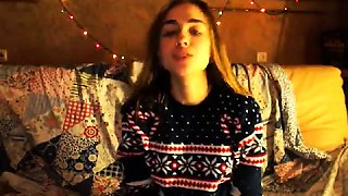 Brunette teen having fun with her boyfriend on cam