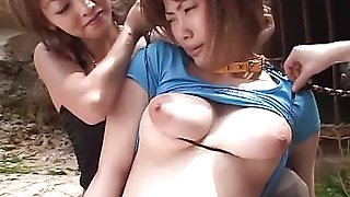 Asian hottie gets bound and teased by mean couple