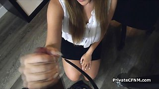 Secretary helps with raging boner at the office