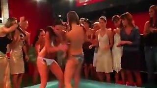 Oil Wrestling Girls stripping each other