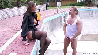 Blouse and skirt beauty pissed on and fucked by a stud