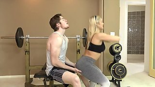 Man thrusts really long dick in mouth of fitness trainer