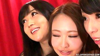 Three gorgeous Japanese sex machines having a sexy threesome