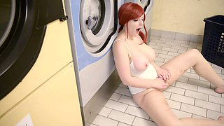 Patient girl takes her time to masturbate by a washing machine
