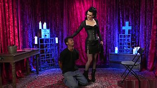 Brunette Dominates Black Slave