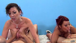 Sara And Ava In Cock Sucking Competition