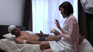 Japanese nurse, Hikari Kazami sucks dick, uncensored
