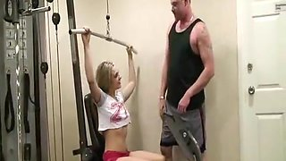 Horny gym babe Bailey Blue seduces her fitness trainor into fucki