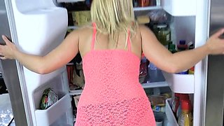 Fucking stepmoms mature pussy in the kitchen