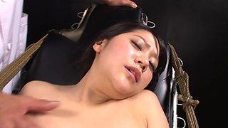 Tied up Japanese woman ravished during a BDSM game