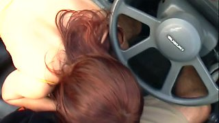 Hot redhead beauty is making a blowjob in car