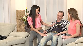 Old man cheats on spouse with two attractive stepdaughters