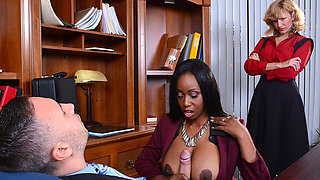 Busty Codi Bryant flashes her tits and gets successful on seducing her boss