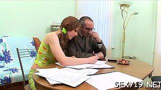 Aged teacher gratified by beautiful teen