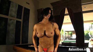 Hard bodied Angela dildos on pooltable till she cums