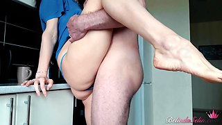 Teen with a big booty has hardcore sex in all positions in the kitchen