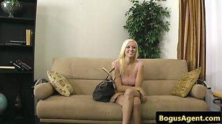Blonde amateur cocksucks and rides midget
