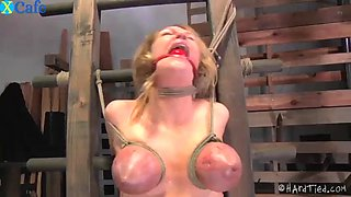Force vibrator agony orgasm gets delicious curvy flame tied up to the wall