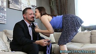 teen babysitter jizzed hard