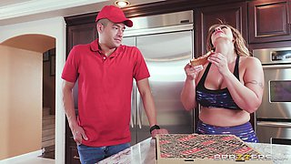 Eva Notty cannot resist a pizza delivery boy's erected dick